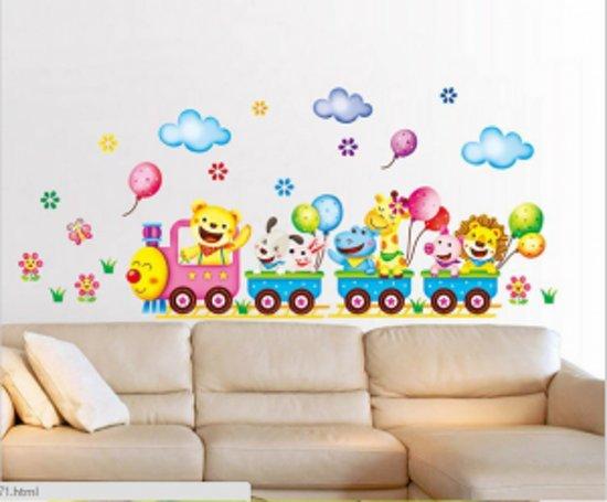 Muursticker vrolijke dieren in trein 42x24 voor babykamer jongens meisjes - Kamer wanddecoratie kind ...