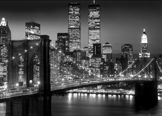 Poster (X-Large) New York-Manhattan-Brooklyn bridge-Skyline-zwart-wit- (100x140cm)