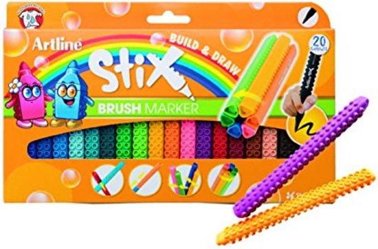 Artline Stix brush pen , voor handlettering en kleuren, set van 20 kleuren