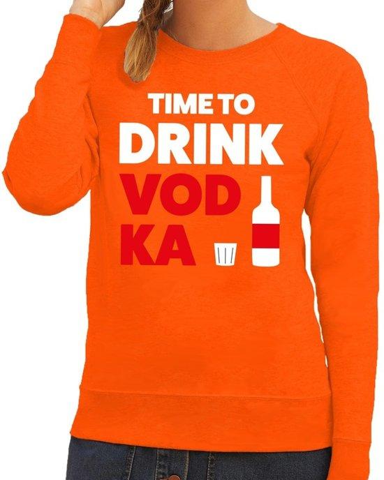 Time to drink Vodka tekst sweater oranje voor dames 2XL