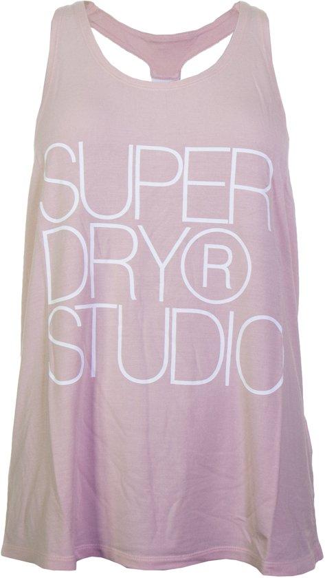 Superdry Studio Elastic Vest Dames Sporttop performance - Maat M  - Vrouwen - roze/wit