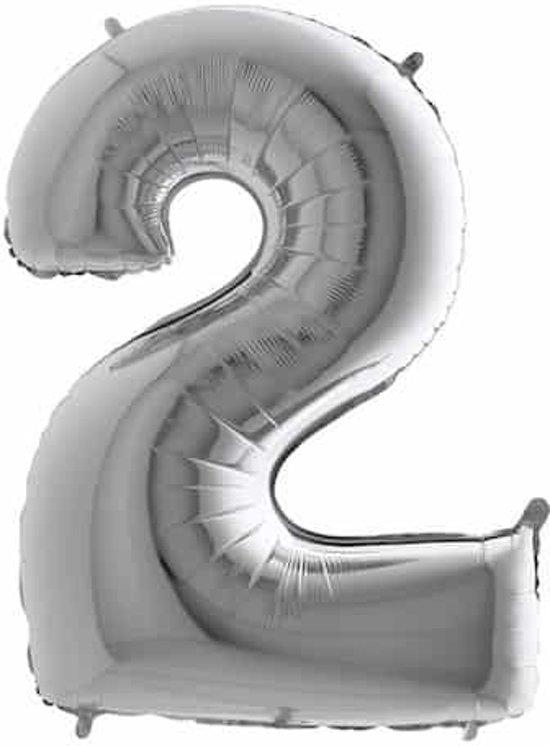 Folieballon cijfer '2' zilver (100cm)