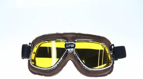 classic chrome- bruine motorbril geel glas