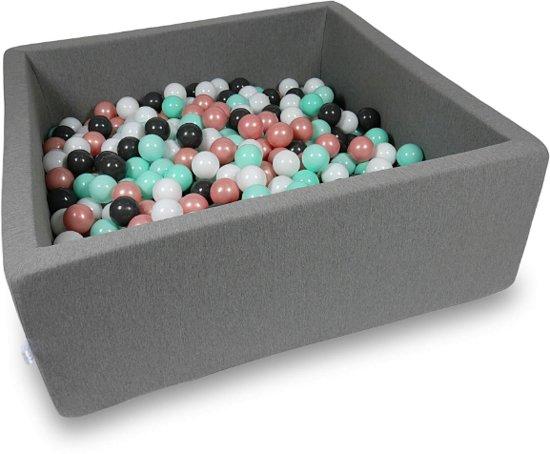 Ballenbak vierkant donker grijs - 600 ballen - 110 x 110 cm - ballenbad - bruin 7 cm ballen