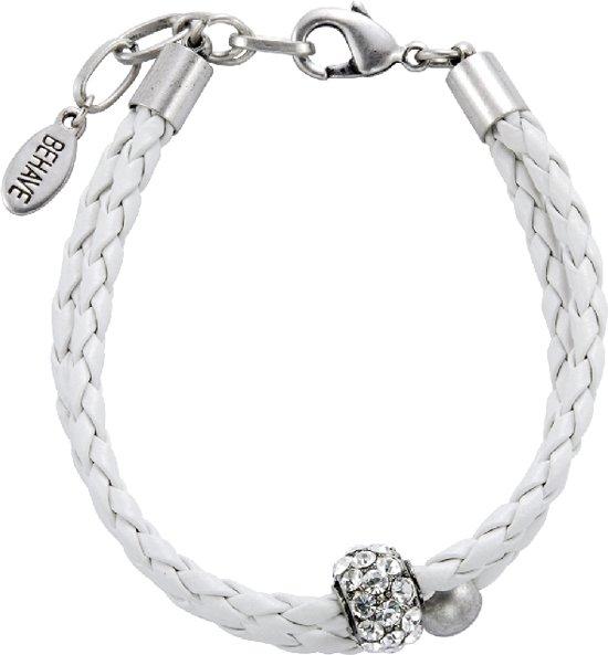 Armband van imitatieleer met hanger met steentjes