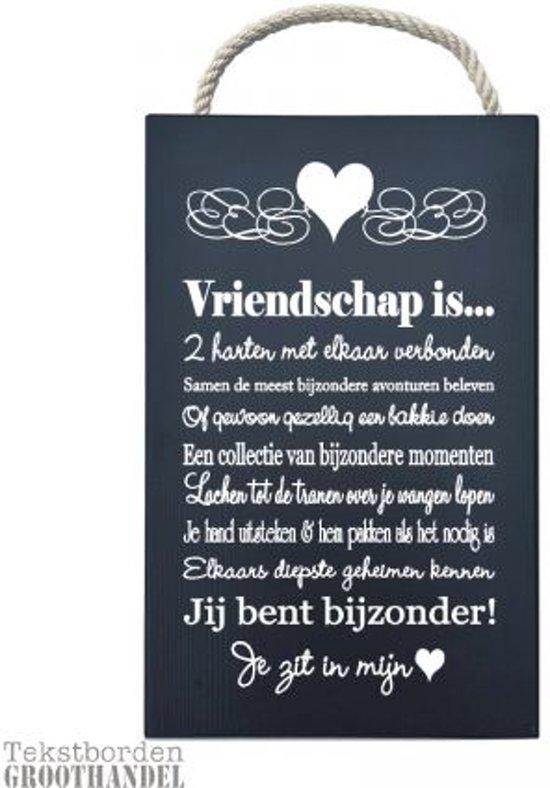S131 Zwart Vriendschap Steigerhouten Tekstbord