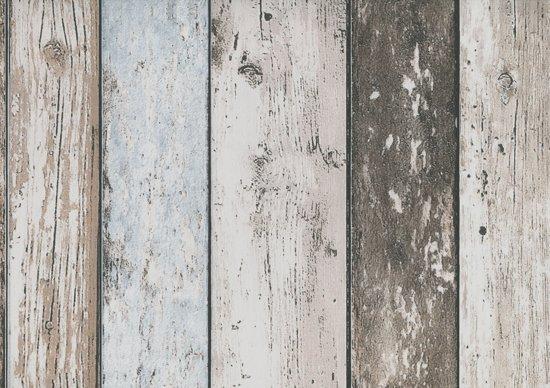 Behang Steigerhout Motief.Dutch Wallcoverings Vliesbehang Sloophout Beige