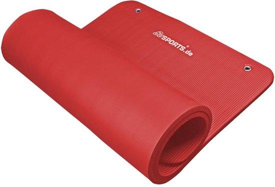 ScSPORTS: Gymnastiekmat met ogen,Fitnessmat,Trainingsmat, Mat met ophangogen, 185x80x1.5cm,Rood