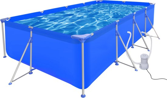 Opbouw zwembad met stalen frame en pomp 394 x for Rechthoekig zwembad