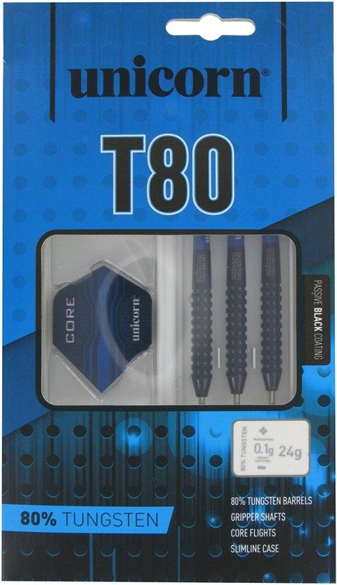 Unicorn Core XL T80 Black A 80% Tungsten Steeltip Dartpijlen