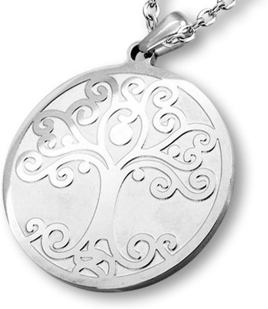 Amanto Ketting Dille - Dames - 316L Staal - Levensboom - ∅30 mm - 50 cm