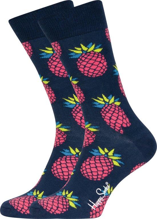 Happy Socks Pineapple Sokken - Donkerblauw/Roze - Maat 41-46