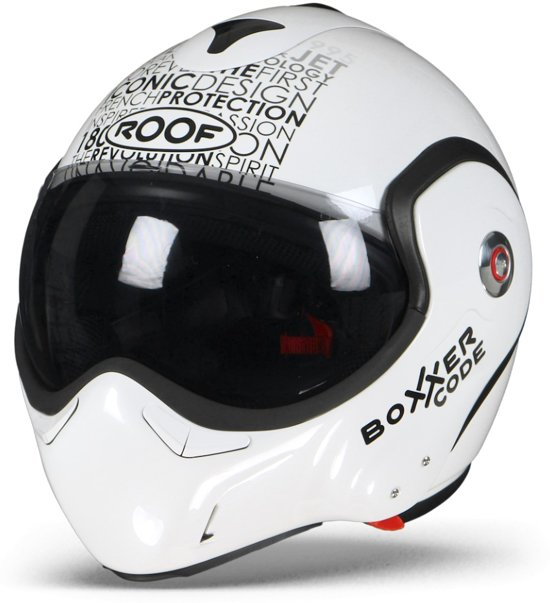 ROOF BoXXer Carbon Code Parel Wit Zwart Systeemhelm - Motorhelm - Maat XL