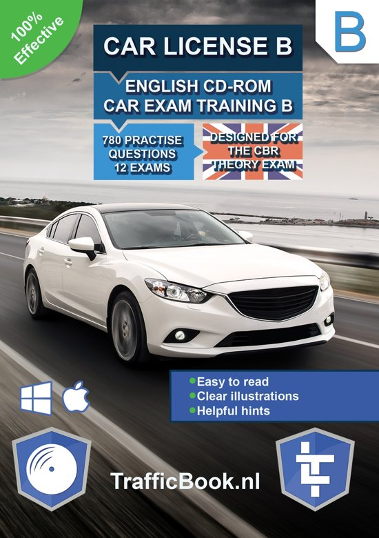 Car License B – English CD-Rom Car Exam Training B – 845 practise questions – 13 Theory Exams – Designed for the CBR Theory Exam 2018