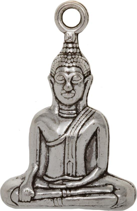Bedel Buddha (35 x 23 mm) Antiek Zilver (2 Stuks)