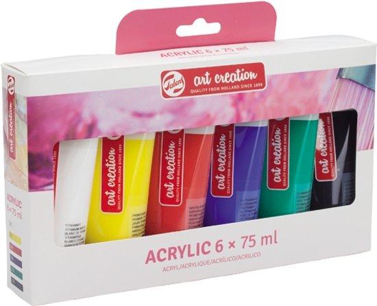 Acrylic set 6 kleuren 75 ml tubes acrylverf