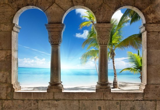 Fotobehang View Paradise Beach Tropical Palms | XXXL - 416cm x 254cm | 130g/m2 Vlies