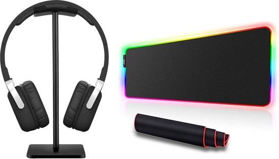 Afbeelding van RGB Extra Brede Gaming Muismat + Headset Koptelefoon Standaard