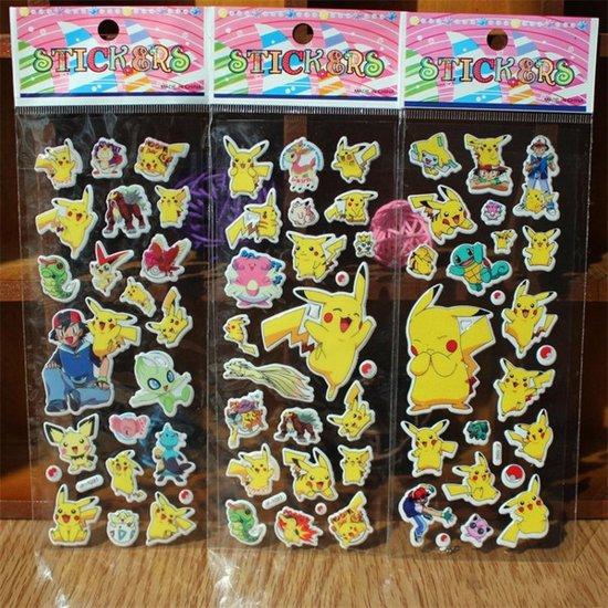 Afbeelding van 3x pokemon stickers kaarten = 64+ stickers - Laptop - game - computer - tablet - koelkast - meubels - muur - stickers