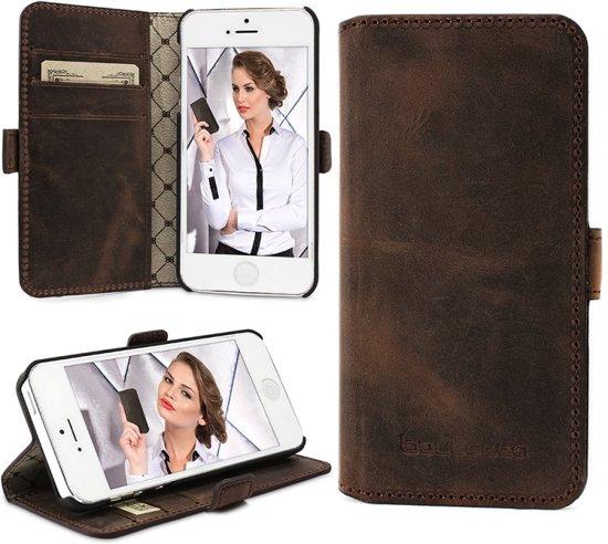 Bouletta - iPhone 5(S) & SE Lederen BookCase (Antic Coffee)