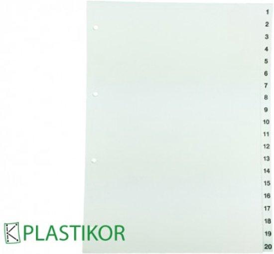 Tabbladen A4, 1-20 genummerd, kleur wit - 1Set