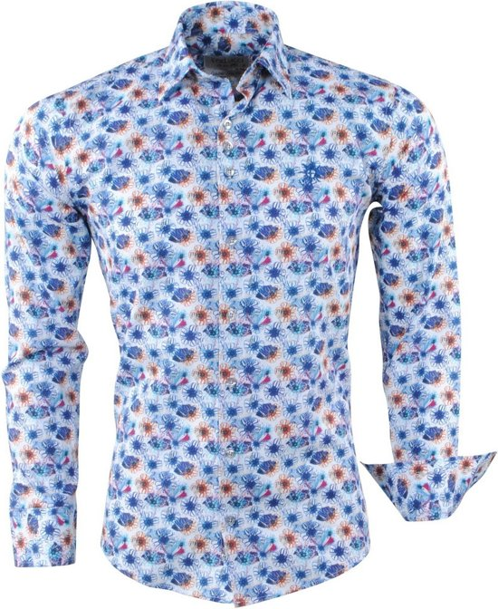 Bloemen Overhemd.Bol Com Ferlucci Heren Overhemd Bloemen Calabria Wit Blauw
