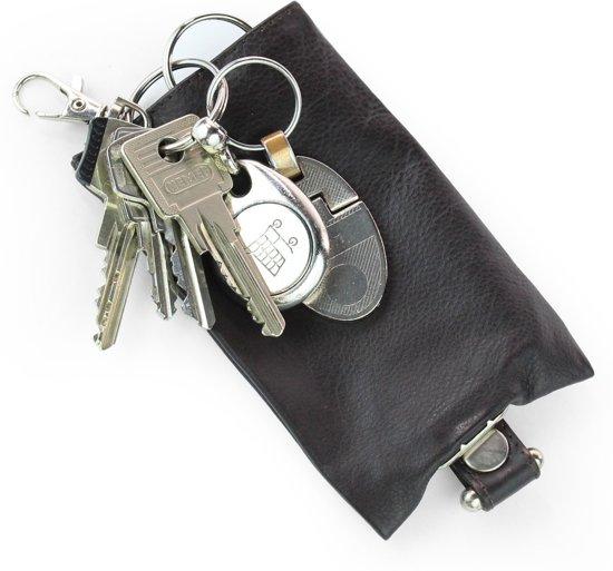 Compact Leren Sleuteletui - Lederen Sleutelmapje - Echt Leer - Druk knoop - Safekeepers - Bruin