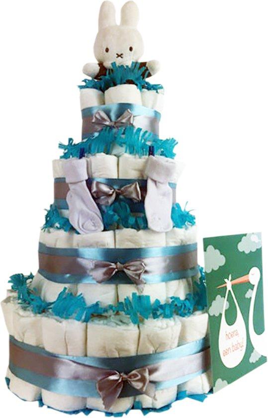 Luiertaart Nijntje jongen 4-laags blauw   87 A-merk Pampers   schattige sokjes   XL geboortekaart   ideaal voor babyshower, kraamcadeau en Baby cadeau