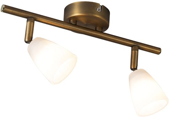QAZQA Magda 2 - Plafond spot - 2 lichts - 300 mm - brons