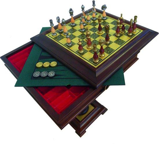 Luxe schaakset - Arabische stijl schaakstukken + houten schaaktafel (+ Backgammon) - 61 x 61 x 62 cm