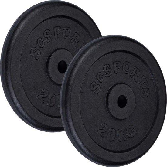 ScSPORTS® 40 kg gietijzeren set gewichtsschijven 30 mm 2x20 kg