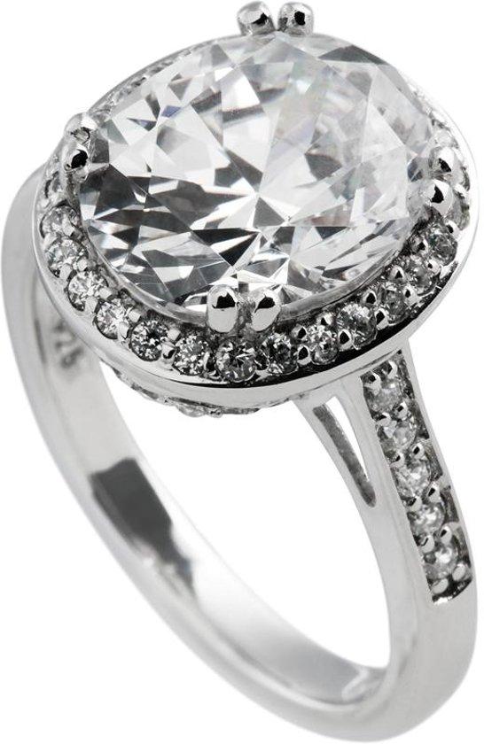 Diamonfire - Zilveren ring met steen Maat 18.5 - Ovaal - Bezette band