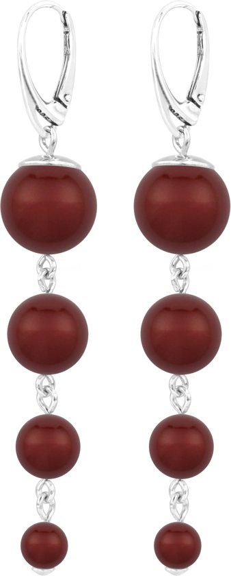 ARLIZI parel oorbellen bordeaux rood - zilver - 1340