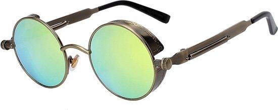 Zonnebril Met Kleine Ronde Glazen.Steampunk Ronde Zonnebril Groen Vintage Ronde Glazen Brons Montuur Geel Festival