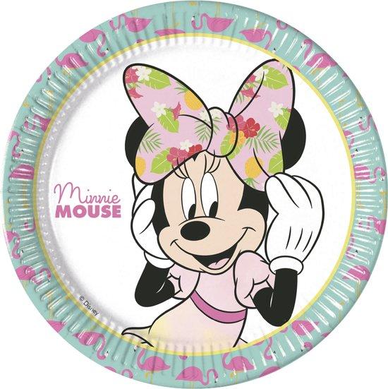 8 kartonnen bordjes Minnie Mouse™ Tropical - Feestdecoratievoorwerp