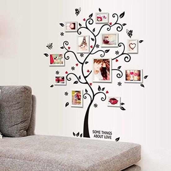 Muursticker boom - Sticker voor fotolijstjes - Zwart met rood