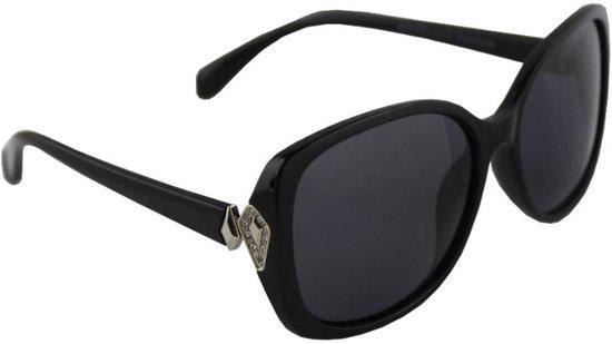 ac381ba88878c2 Zonnebril Rechthoek Dames Polariserend Glas Zwart Zilver GRATIS Brillenkoker