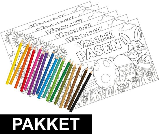 Bol Com 6 Pasen Kleurplaten Placemats Inclusief Kleurpotloden