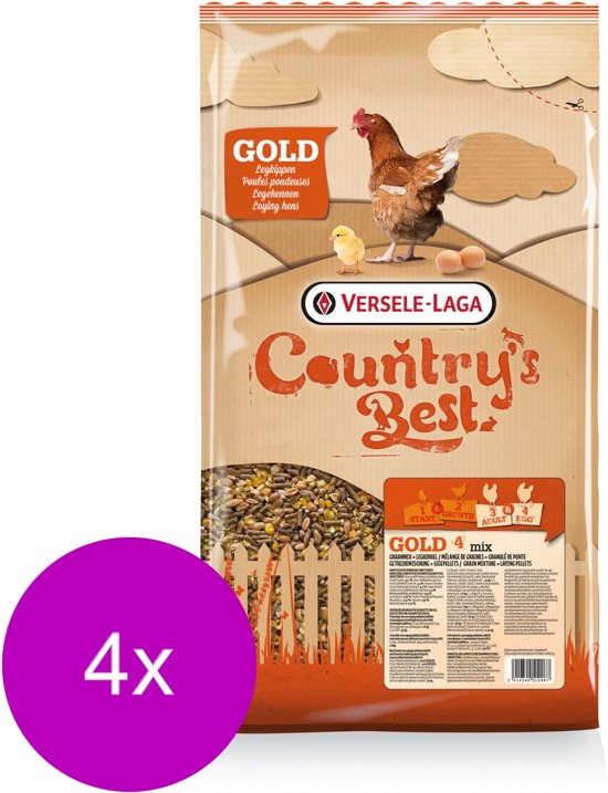 Versele-Laga Country`s Best Gold 4 Mix Kip-Graan Met Legkorrel - Kippenvoer - 4 x 5 kg Standaard