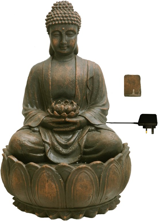 Boeddha Met Led Verlichting.Boeddha Met Bloem Met Verlichting