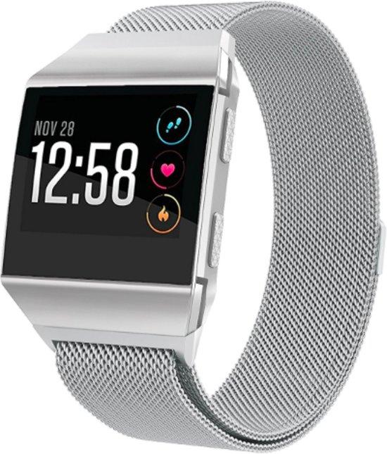 YONO Milanees Bandje Zilver voor Fitbit Ionic - Vervangende RVS Armband met Magneetsluiting – M/L