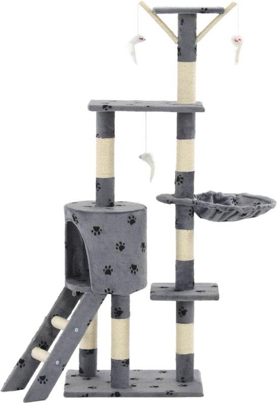 vidaXL Kattenkrabpaal met sisal krabpalen 138 cm pootafdrukken grijs