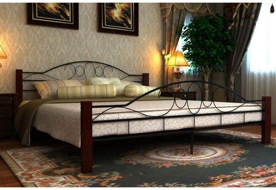 bol metalen bed met matras 140 x 200 cm zwart roodbruin 689