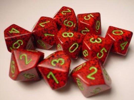 Afbeelding van het spel 10 Vlakken Tienzijdige Dobbelsteen Speckled Strawberry 16mm Set van 6 stuks