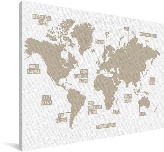 Bruin gekleurde wereldkaart zonder omlijningen Canvas 30x20 cm - klein - Foto print op Canvas schilderij (Wanddecoratie woonkamer / slaapkamer)