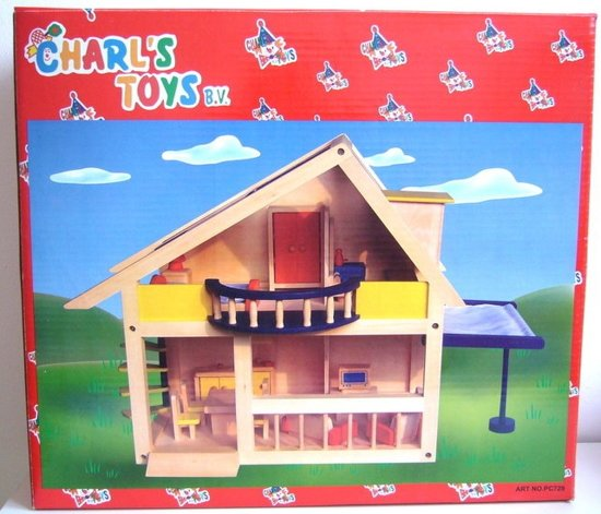 Poppenhuis met balkon en meubels, Charl's Design Toys