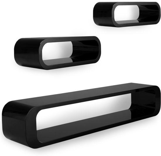 Wandplank Retro Cubes.Bol Com Wandrekken Zwart Hoogglans Set Van 3 Retro Ovaal