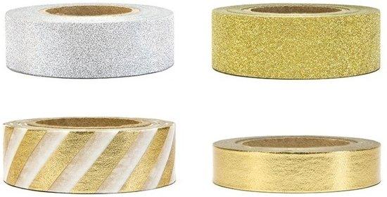 4 rolletjes zelfklevend decoratie tape goud - washi tape