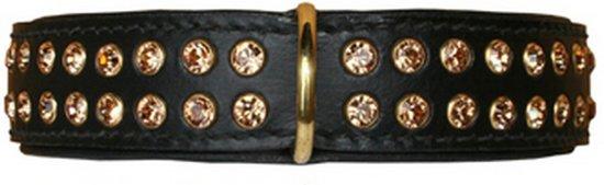 Hondenhalsband Swarovski Strass Extreme Black - Gold 60 cm