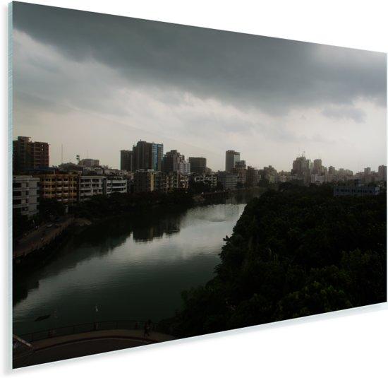 Prachtige horizon in de stad Dhaka Plexiglas 90x60 cm - Foto print op Glas (Plexiglas wanddecoratie)